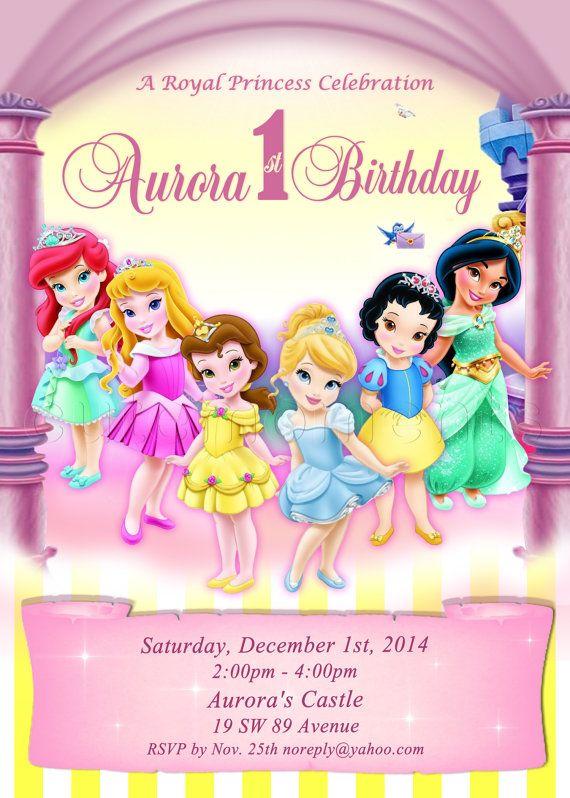 Disney Princess- Personalized Digital Invitation - Aurora, Snow White, Cinderella, Ariel, Belle, Jasmine