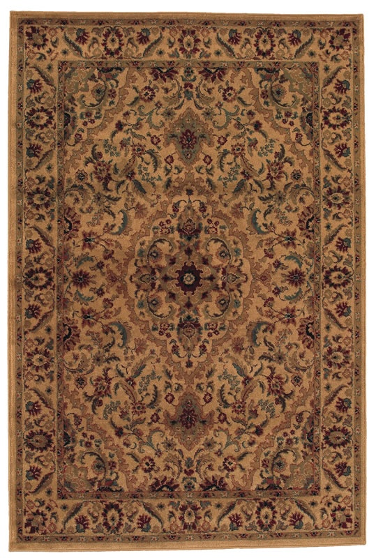 Tan All Over Antiquity Natural Floral Area Rug With Floral Border Accents  Collection   Shaw Rugs
