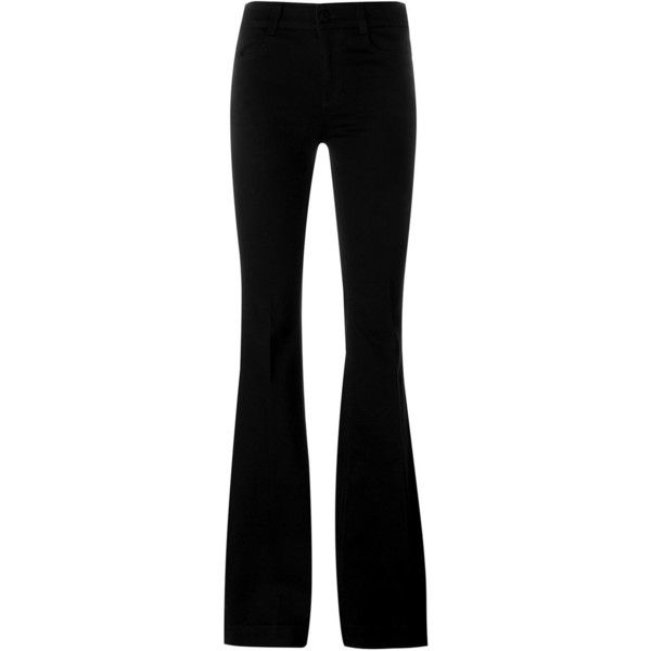Stella McCartney flared jeans ($400) ❤ liked on Polyvore featuring jeans, black, black jeans, 5 pocket jeans, flare jeans, zipper jeans and stella mccartney