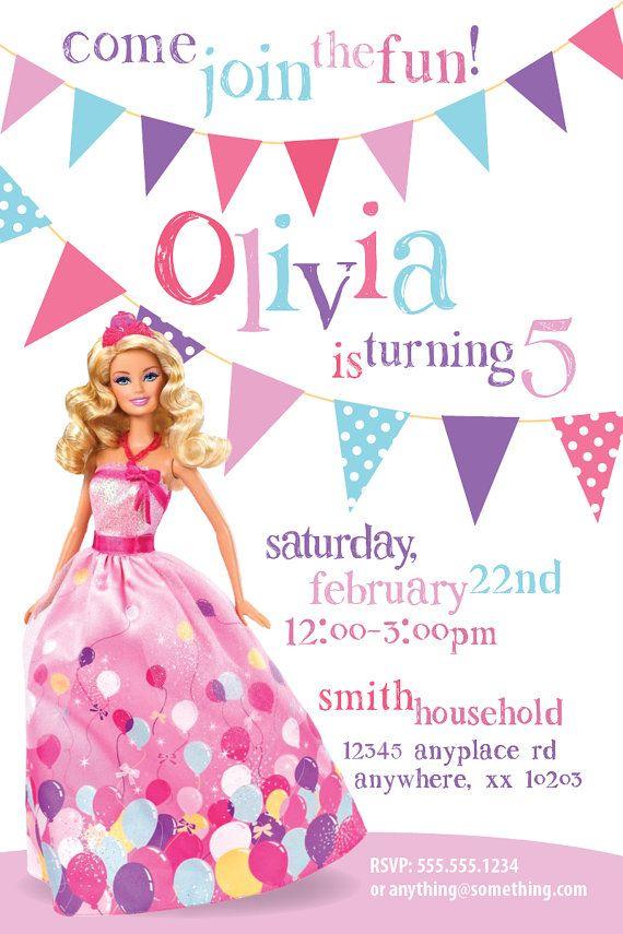barbie theme birthday invitation diy printable by