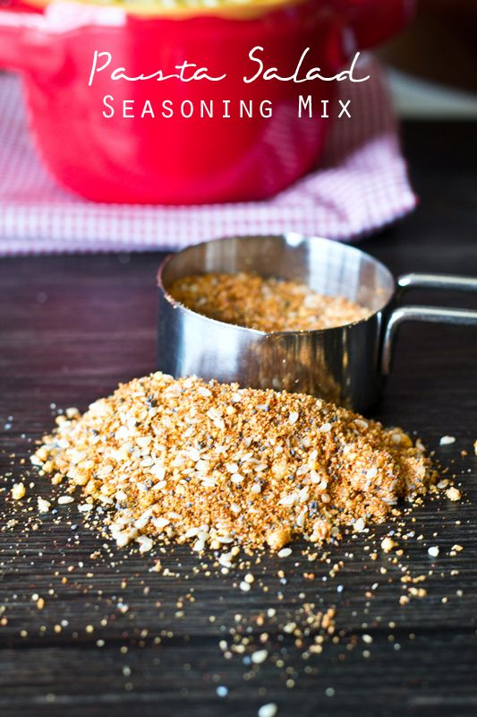 Pasta Salad Seasoning Mix on MyRecipeMagic.com. This Pasta Salad Seasoning Mix makes a big batch so you'll be ready for summer picnics. Use three tablespoons of this seasoning mix per one pound of pasta salad. Just the right seasoning, every time!