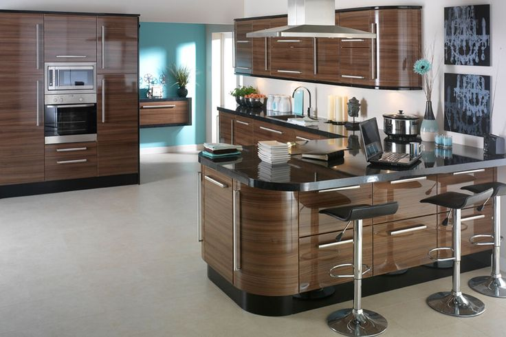 Apollo Dark Walnut High Gloss Kitchen Design Idea Ipc402 - High Gloss Kitchen Cabinet Design Ideas 2015 - Al Habib Panel Doors