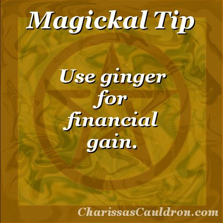 Magickal Tip - Ginger for Financial Gain – Charissa's Cauldron - Pinned by The Mystic's Emporium on Etsy