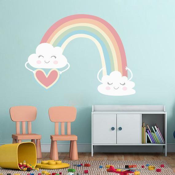 Regenbogen Wandaufkleber Aufkleber Wandbild Fur Madchen Zimmer Wolken Wandtattoo Rege Kinderzimmer Wand Wandgestaltung Kinderzimmer Madchen Blumen Kinderzimmer