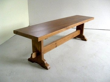 Thick Oak Bench With Trestle Base - traditional - dining chairs and benches - boston - eCustomFinishes