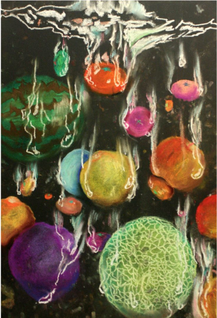 Falling fruits with pastels:)  Pastel,abstract,artwork,fruits,