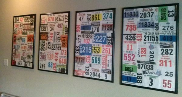23 Cool Race Bib Collections | Runner's World- this would be way better than leaving them in a shoe box!