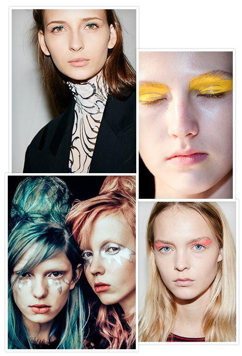 Les tendances Beauté maquillage de la Fashion Week printemps-été 2016 : Regard électrisant pop clinquant fard à paupières flitter flash