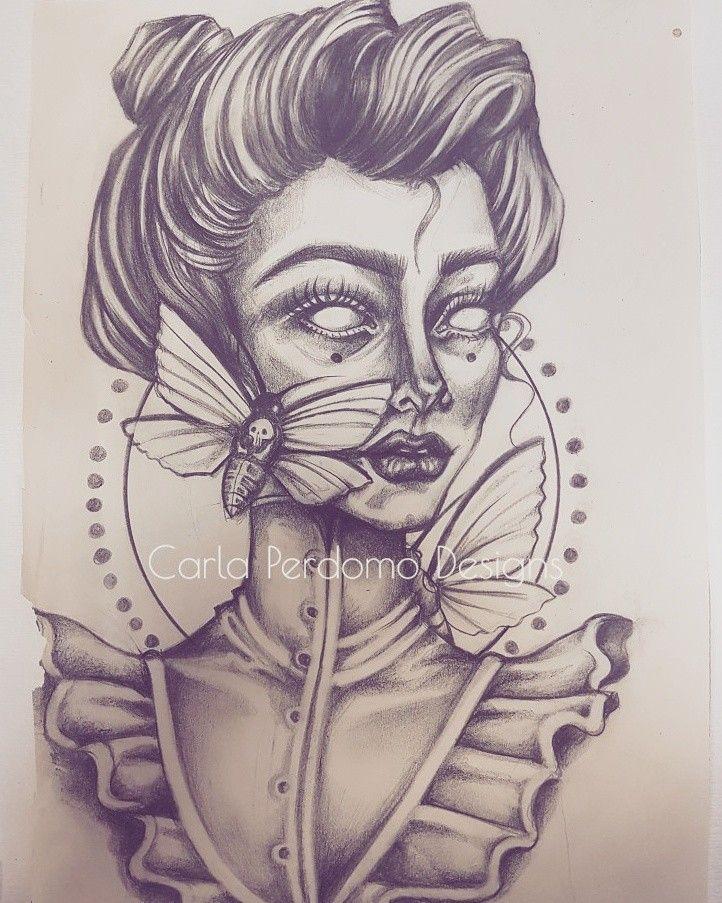 Pretty dead things  #illustration illustrator #artist #toronto #macabre #victorian #portrait #artist #deathmoth #torontoapprentice