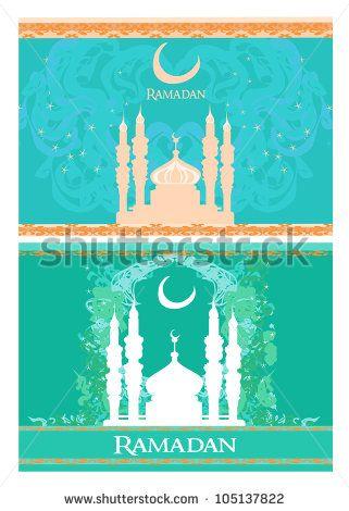 Ramadan background - mosque silhouette card set