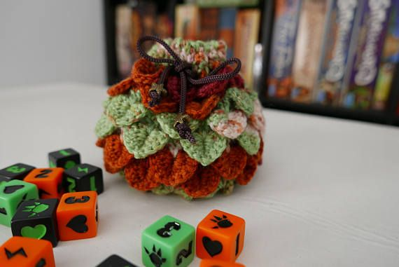 Hey, I found this really awesome Etsy listing at https://www.etsy.com/listing/521209484/dice-bag-crochet-dragon-scale-orange-and