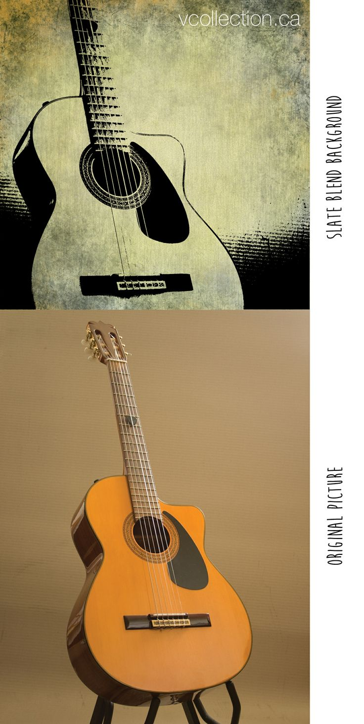 Celebrate your musical daddy! // vcollection.ca: Another great example for Father's Day! This one uses the slate background. The original guitar picture is well contrasted which works best for inkscape. (This refers to the vcollecion inkscape canvas )