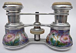 FINEST FRENCH ANTIQUE 19THC OPERA GLASSES GUILLOCHE ENAMEL FLOWERS WHITE METAL.