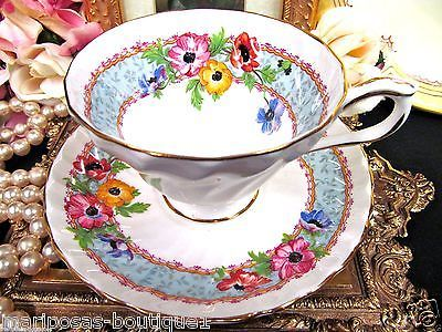 AYNSLEY TEA CUP AND SAUCER FLORAL PAINTED SWIRL PATTERN TEACUP & SAUCER