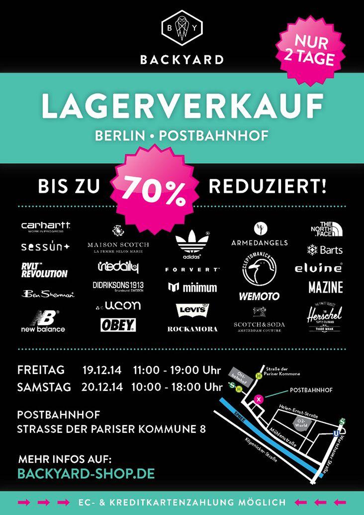 #Berlin! Backyard kommt in die Hauptstadt! Am Fr. 19.12.14 von 11-19 Uhr und Sa. 20.12.14 von 10-19 Uhr könnt Ihr Euch winterliche Schnäppchen und Last-Minute Geschenke beim großen Backyard Lagerverkauf sichern! Seid dabei!