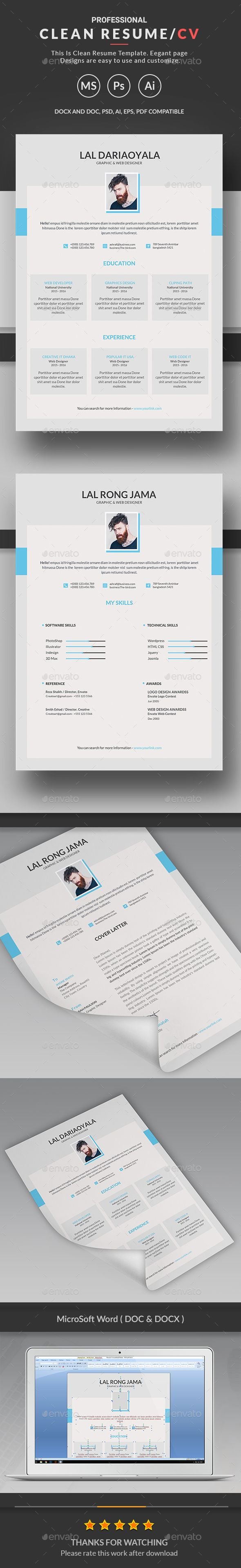 Clean Resume Download%0A Clean Resume by Createart Features of Resume Template   Size with bleed  settings    Color Versions     DPI resolution  u     CMYK color mode Profes