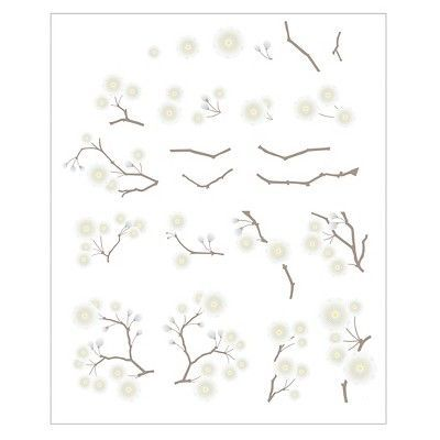 Paper Riot White Plum Blossom Branch Large Playbook Wall Decals, Pink