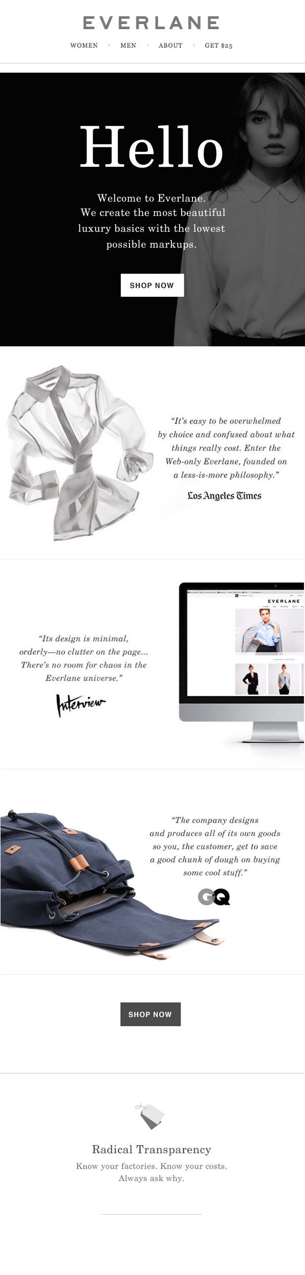 Everlane: welcome email