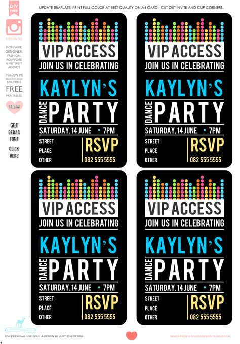 The 25+ Best DIY Birthday Party Invitation Template Ideas On   Free Vip  Pass Template  Free Vip Pass Template