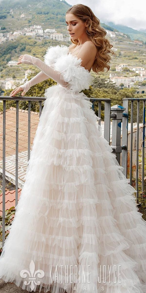 wedding dresses fall 2019 a line ruffled skirt with gloves victoria soprano