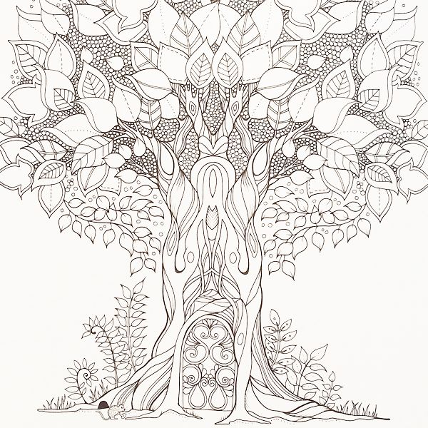A whimsical tree crying out to be coloured by Johanna Basford in her stunning adult colouring book, Enchanted Forest