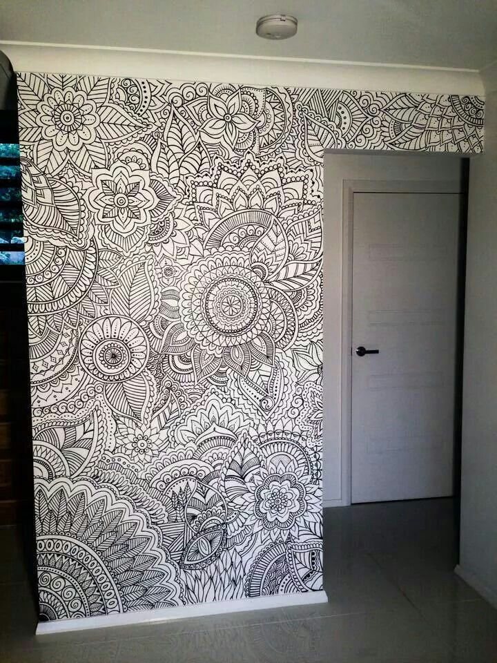 Zentangle a wall. This is a great example of home decor with doodling or Zentangles. zentangle doodle doodles #zentange #doodle #scribbles:
