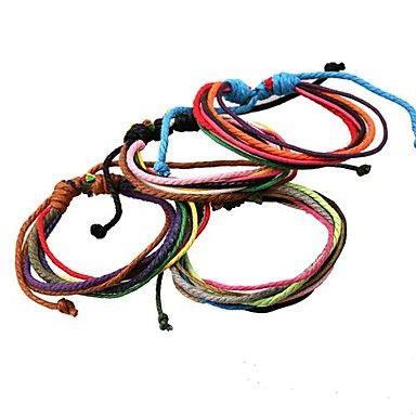 vrij+eenvoudig+multicolor+handgemaakte+hennep+touw+lederen+armbanden+(willekeurige+kleur)+–+EUR+€+1.95