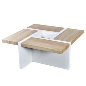 Table basse chêne / blanc brillant