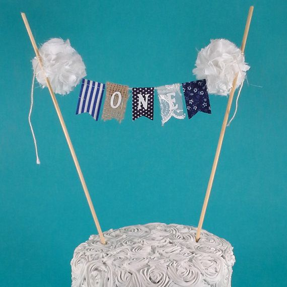 Burlap Cake banner smash cake navy birthday by Hartranftdesign