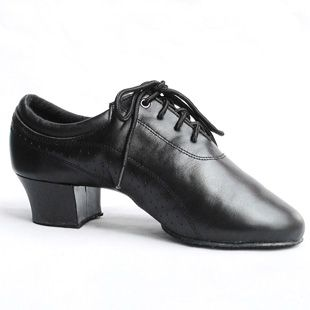 Black soft leather Latin dance shoes male dance shoes dance shoes