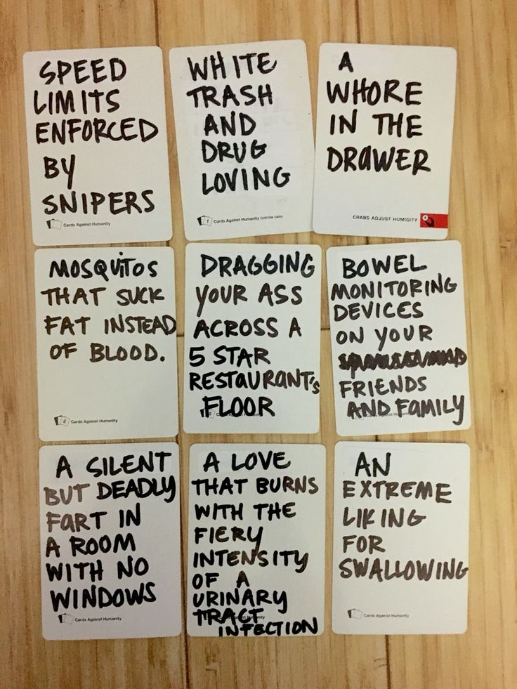 Awesome and hilarious funny ideas to write on blank cards for cards of humanity. DIY own cards of humanity deck