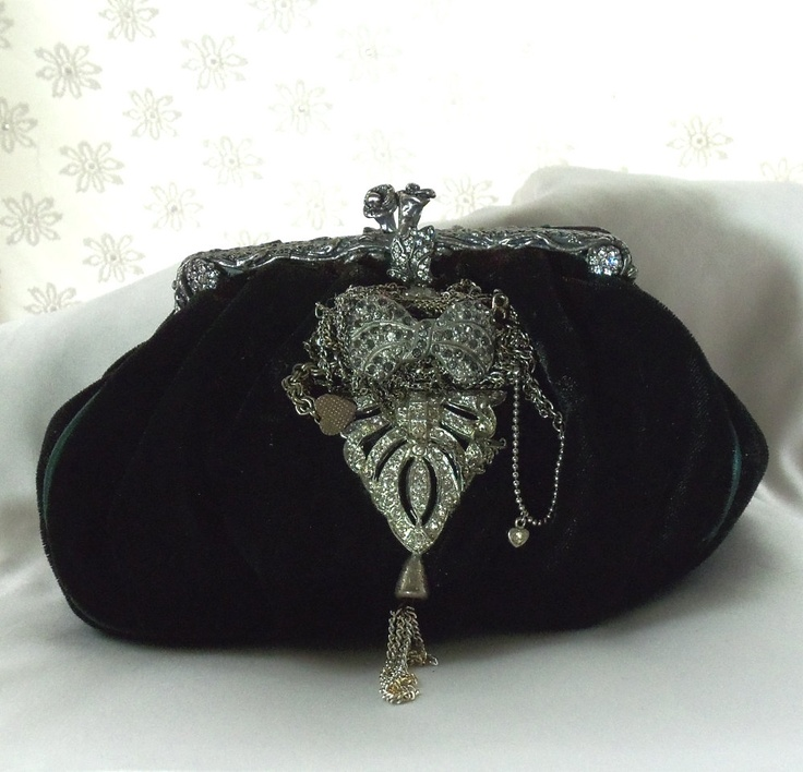 Formal velvet Clutch, 1920s black opera bag, vintage rhinestone bejeweled handbag, One of a kind Haute Couture Purse