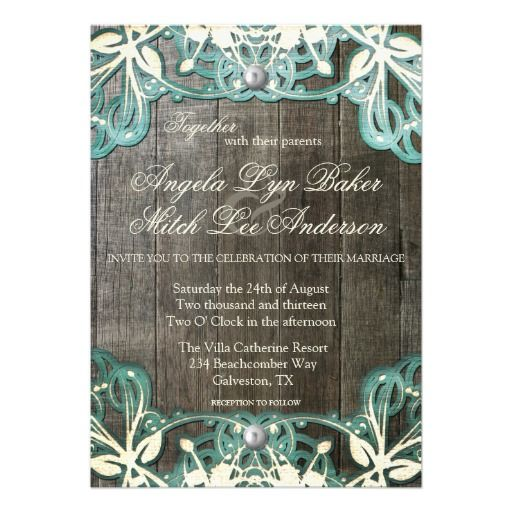 Country Lace and Wood Rustic Wedding Invitation.  Teal Turquoise and Barn Wood Design.