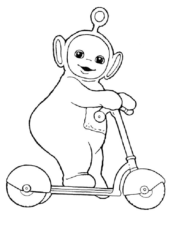 Teletubbies po was playing scooter coloring pages for Teletubbies dipsy coloring pages