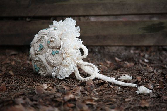 Perfect bouquet for a beach wedding! Beige cotton wedding bouquet with ivory lace and by nerobianco