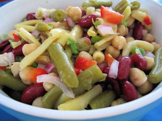 Three Bean Salad from Food.com:   Tangy and sweet, this has a little less sugar than other recipes. I plan to try this with splenda. Adapted from my  With Less Mennonite cookbook. Either canned or dried, cooked beans may be used. I chose my favorite beans, but many other kinds can be substituted.