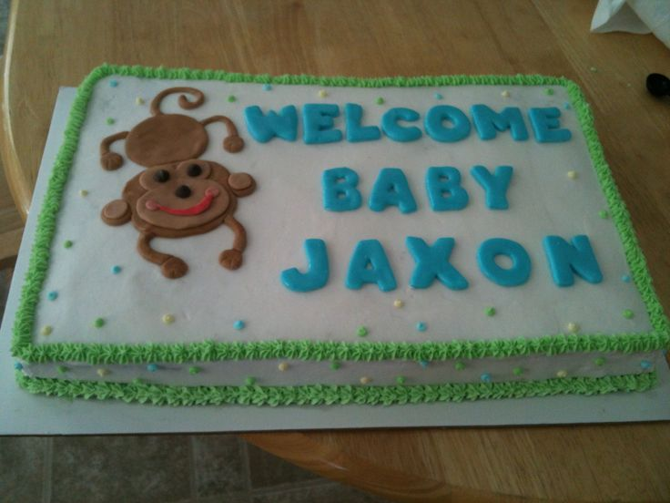 baby shower sheet cakes, monkey themed baby shower and themed baby, Baby shower