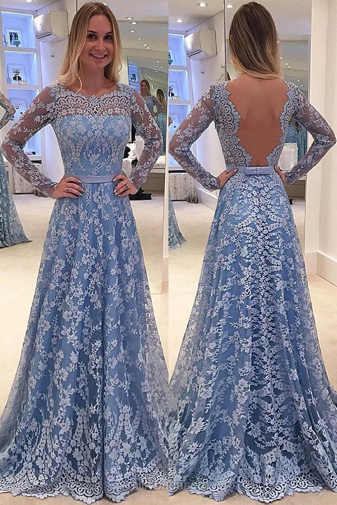 Elegant Long Prom Dresses, A-line Scalloped Neck Evening Party Gowns,Lace Tulle Sashes / Ribbons Long Sleeve Formal Dresses For Women