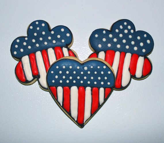 Patriotic Flag HEART shaped Decorated Sugar Cookies 1 Dozen (12) on Etsy, $45.00