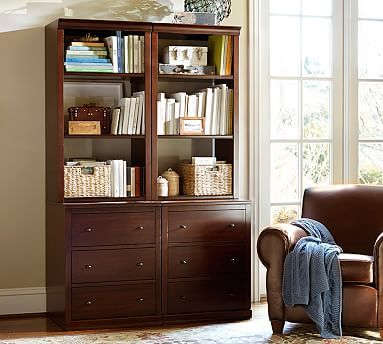 Logan Open Bookcase with Drawers #potterybarn