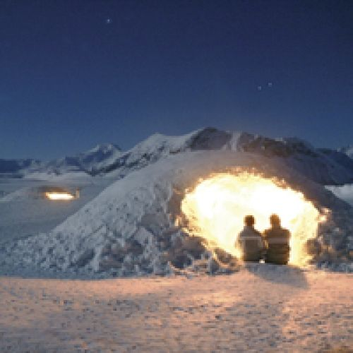 Winter Activity Holiday in the French Alps: Moonlit snowshoeing, ice climbing, ice diving, paragliding, sleeping in an igloo, snow mountain biking, husky dog sledding....