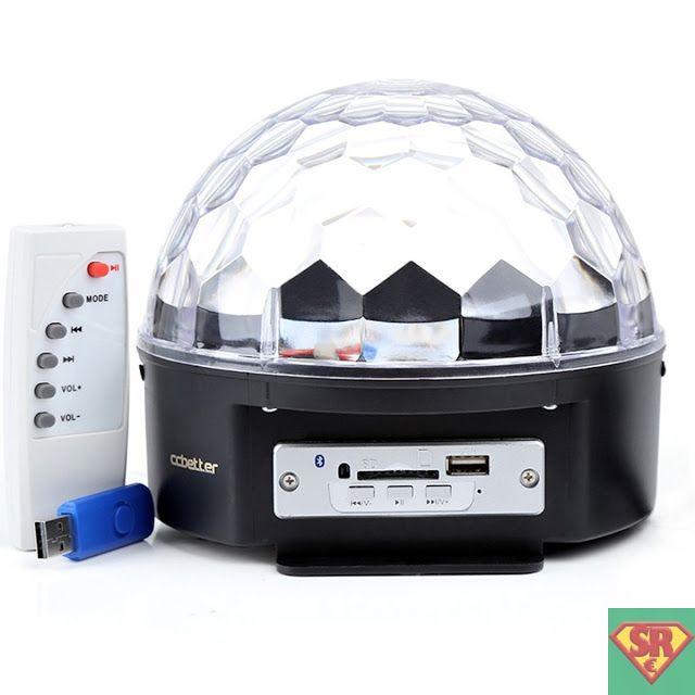 Luci da palco Bluetooth Cristallo palla lampada magica LED RGB effetti Discoteca Partito SD e USB porte per Musica Giocare con telecomando ed europeo spina standard