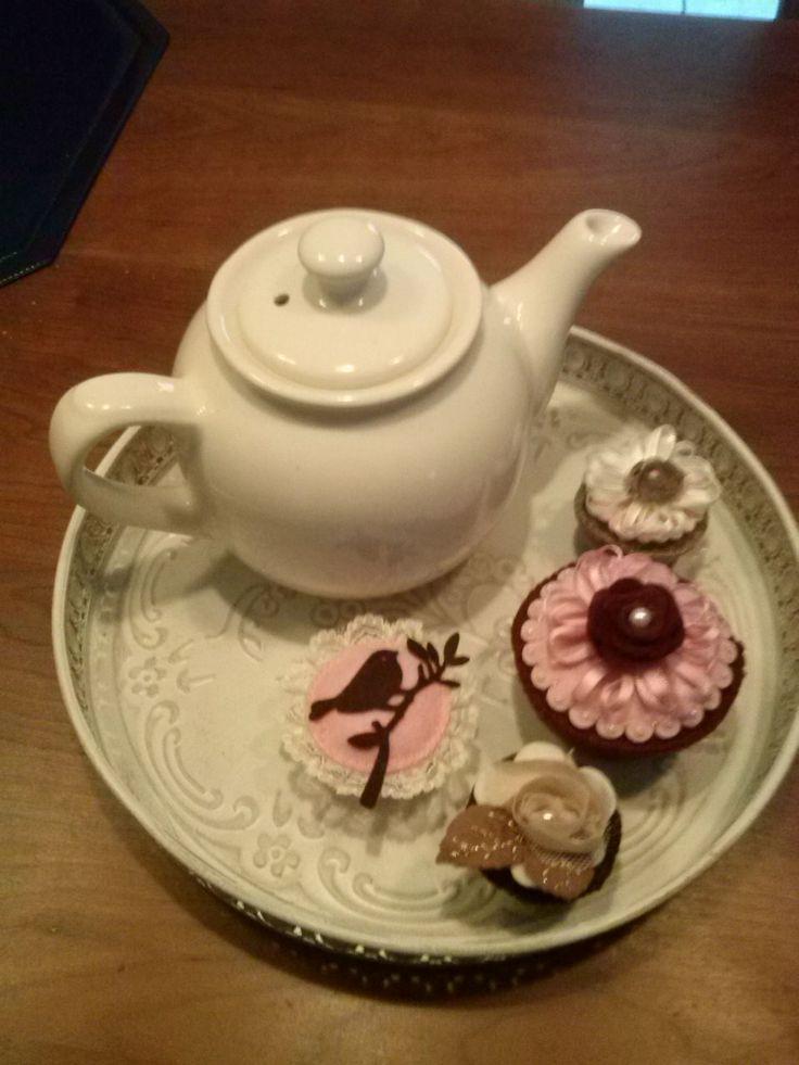 vilt cupcakes met een vleugje vintage.