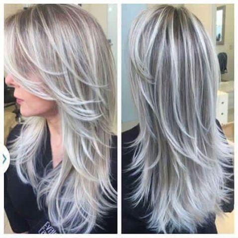 cortes de cabelo longo grisalhos ou brancos - silver hair - gray hair - long hairstyle