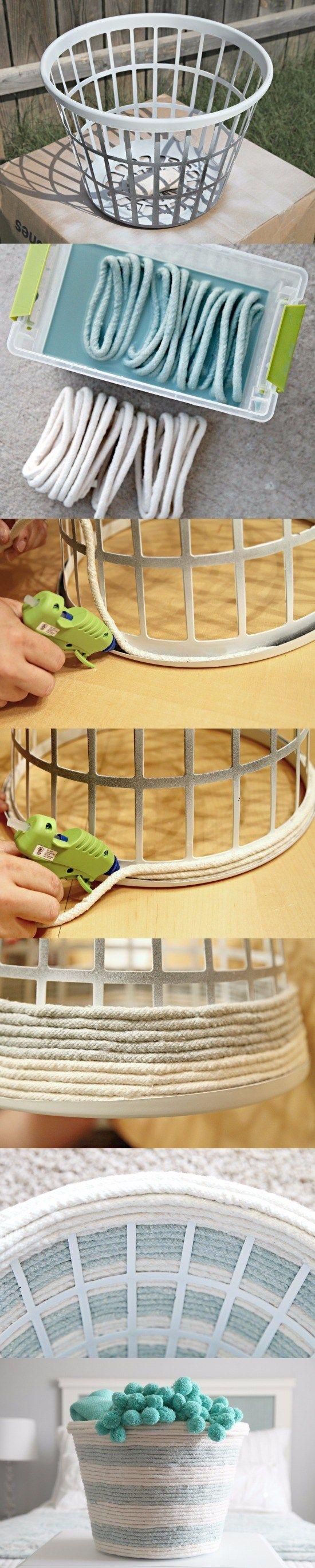 Cesta de cuerda para tu dormitorio / http://www.iheartorganizing.com