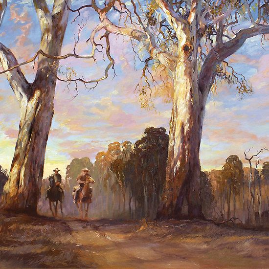 Riders in the Red Gums - after Hans Heysen