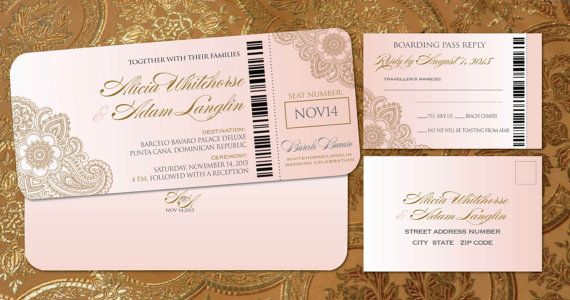 Destination Boarding Pass Invitation Set // Gold by Idowithyou