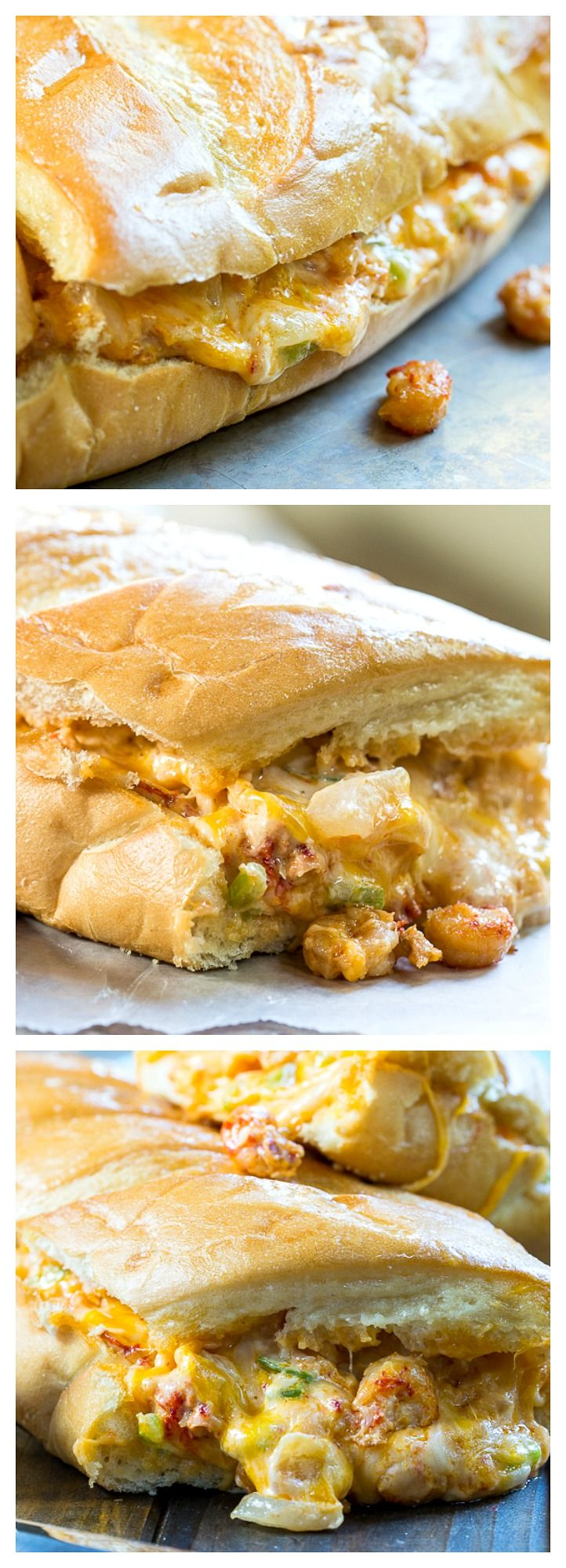 Stuffed Crawfish Bread- French bread stuffed with a hot, gooey, and cheesy crawfish mixture with lots of garlic!