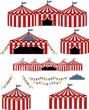 Big Top Circus/Carnival Tents Royalty Free Stock Vector Art Illustration
