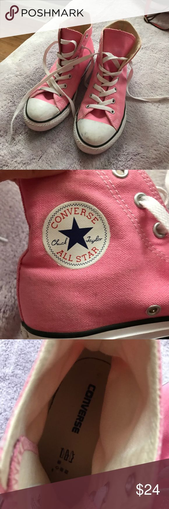 Baby Pink High Top Converse Pink, high top, it's a kids 3 but for women it's a 5!! Converse Shoes Sneakers